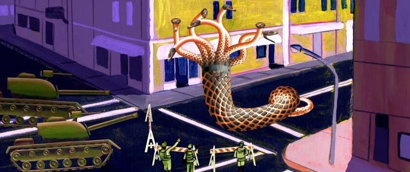 An animated scene with a giant worm on a street, army tanks and soldiers
