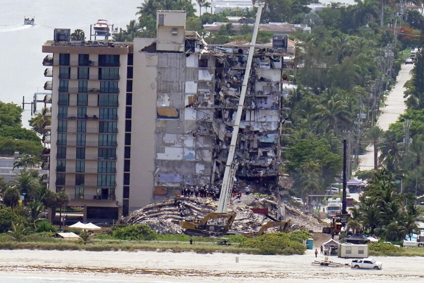 View of collapsed side of Miami-area condo tower