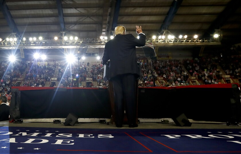 President Donald Trump speaks at the Pennsylvania Farm Show Complex and Expo Center in Harrisburg, Pa., Saturday, April, 29, 2017.