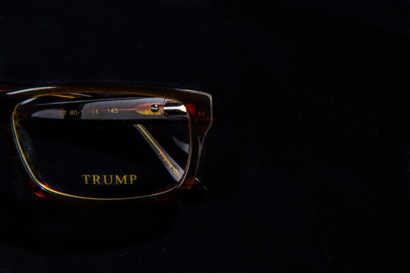 Donald Trump branded glasses. Before he ran for office, Donald Trump made millions by selling his name to adorn other people's products. Now, almost all of them are gone.