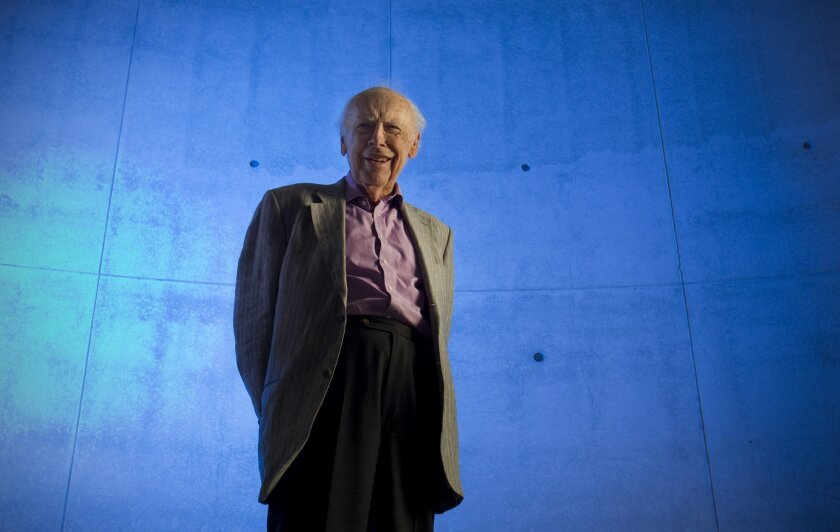 Noble laureate James Watson who co-discovered the structure of DNA visited the Salk Institute in La Jolla and gave a lecture on oxidants and antioxidants in cancer and diabetes Thursday morning.