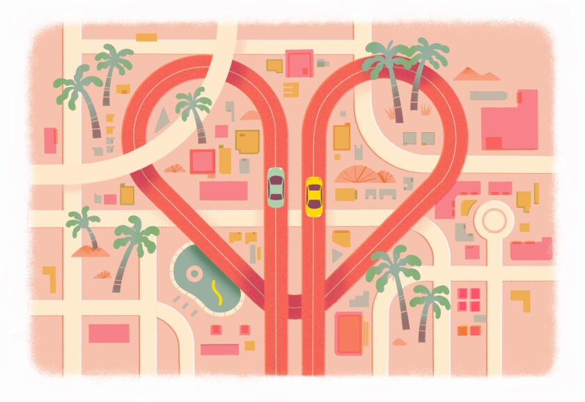 Illustration of two cars on a heart-shaped freeway traversing Los Angeles