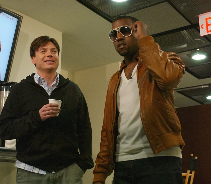 "Mike Myers and Kanye West get together for the season premiere of ""Saturday Night Live"" on Oct. 1, 2005, a month after the famous Katrina Telethon."