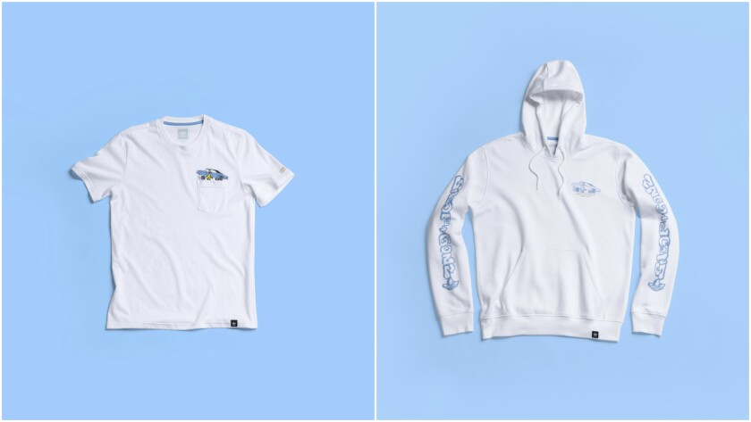 Apparel in the Snoop X Gonz collection includes a T-shirt ($30), left, and hooded sweatshirt ($60), right, with artwork depicting customized lowriders, a mutual love of both artists.