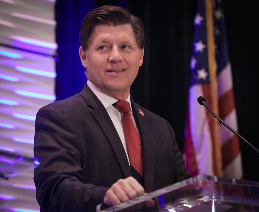 Brian Jones, California State Senator, a Republican candidate for U.S. House of Representatives in the 50th Congressional District, during the 50th District Congressional Debate in Mission Valley, February 14, 2020 at the DoubleTree by Hilton Hotel San Diego.