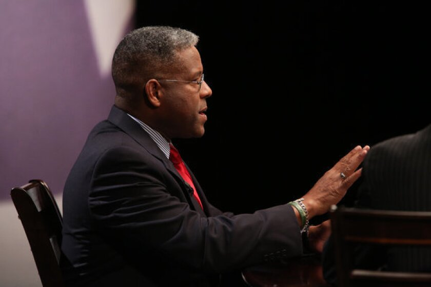 Rep. Allen West makes a point during a debate with Patrick Murphy in West Palm Beach, Fla.