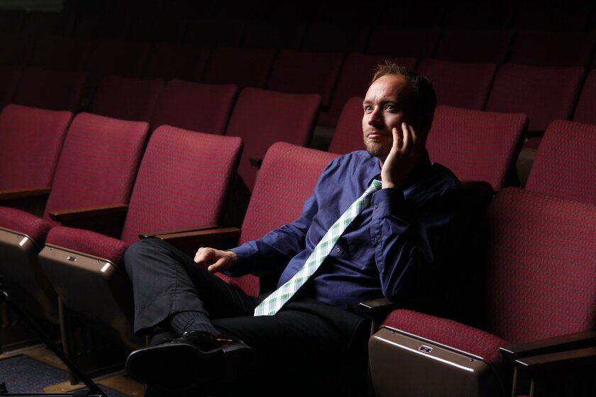 Michael Gerdes is the Director of Orchestras at SDSU, photographed in the Don Powell Theatre.
