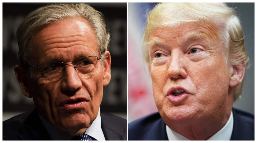 """File photos show Washington Post Associate Editor Bob Woodward (L) speaking at the Newseum in Washington in 2012 and President Donald Trump speaking during an event at the White House on August 29, 2018. Woodward is the author of """"Fear: Trump in the White House,"""" out on Sept. 11"""