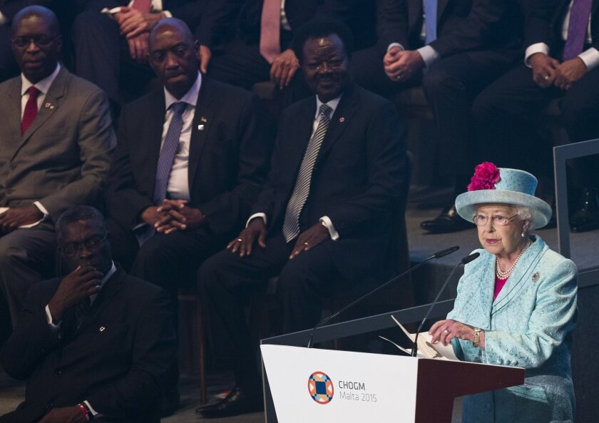 Britain Queen Elizabeth II delivers her speech in front of the heads of government at the opening of the CHOGM (Commonwealth heads of Government meeting) in Valletta, Malta, Friday, Nov. 27, 2015. The summit is expected to deal with climate change, the threat of extremist violence and other issues. AP Photo/Alessandra Tarantino)