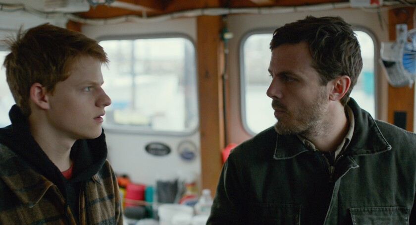 """Lucas Hedges, left, and Casey Affleck in a scene from """"Manchester by the Sea."""""""