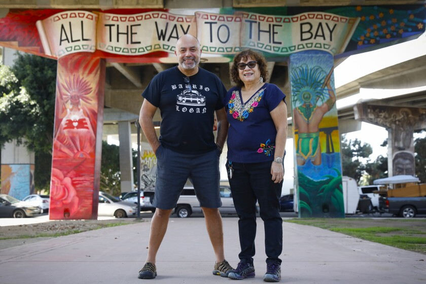 Chicano Park Museum co-founder Josephine Talamantez with playwright Herbert Siguenza.