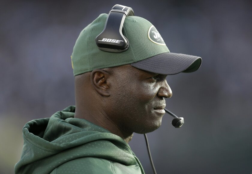 New York Jets head coach Todd Bowles watches from the sideline during the second half of an NFL football game against the Oakland Raiders in Oakland, Calif., Sunday, Nov. 1, 2015. The Raiders won 34-20. (AP Photo/Ben Margot)