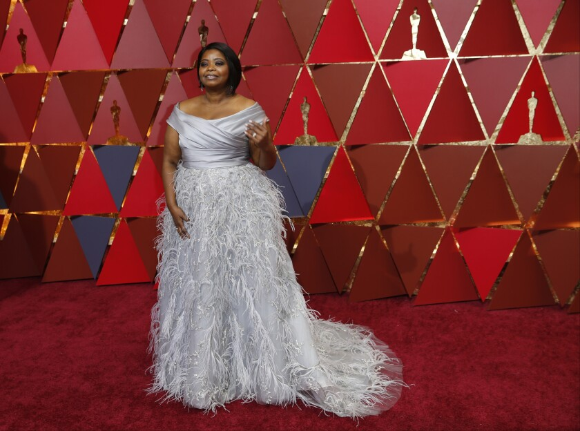 Octavia Spencer in a custom Marchesa gown at the 2017 Academy Awards. The label, once a red-carpet staple, seemed to be MIA at the first awards show since the Weinstein sexual harassment scandal broke.