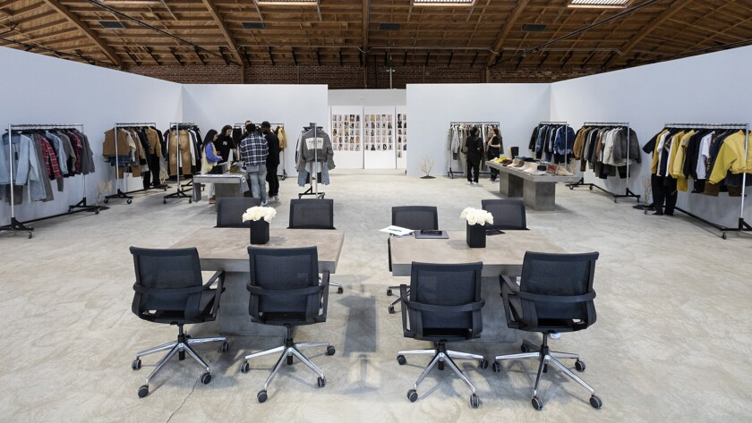 LOS ANGELES, CA - SEPTEMBER 05, 2018 - View of the showroom of fashion line Fear of God in downtown