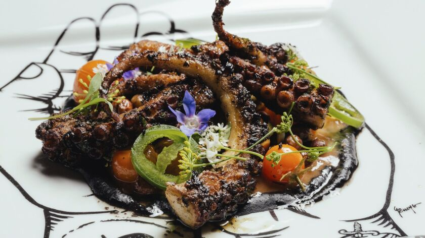 Wood-grilled octopus at Bracero.