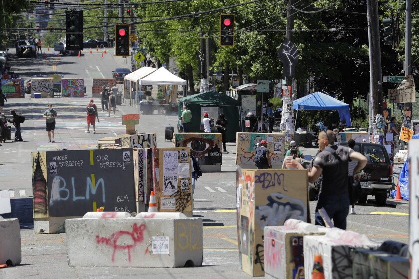 """Makeshift barricades at the """"Capitol Hill Occupied Protest"""" zone, or CHOP, in Seattle."""