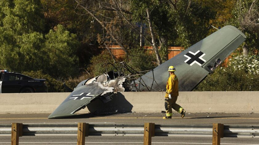 AGOURA HILLS, CALIFORNIA--OCT. 23, 2018--A vintage plane crash-landed on the 101 Freeway on Oct. 23,