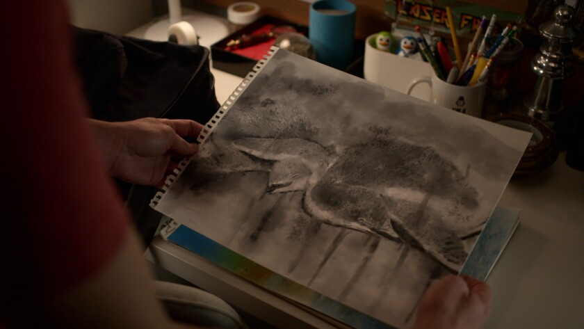 White poured water on his graphite sketches for the ninth-episode artwork.