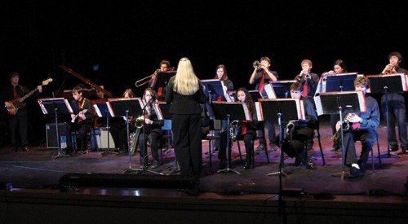 The jazz band performs in the auditorium. Photo: Jon Clark
