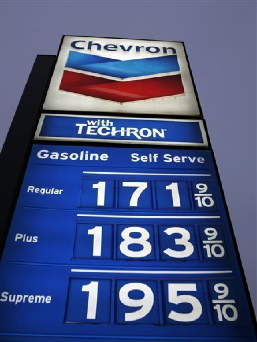Gas prices posted at a Chevron gas station in Manteca, Calif., Tuesday, Dec. 2, 2008. (AP Photo/Paul Sakuma)