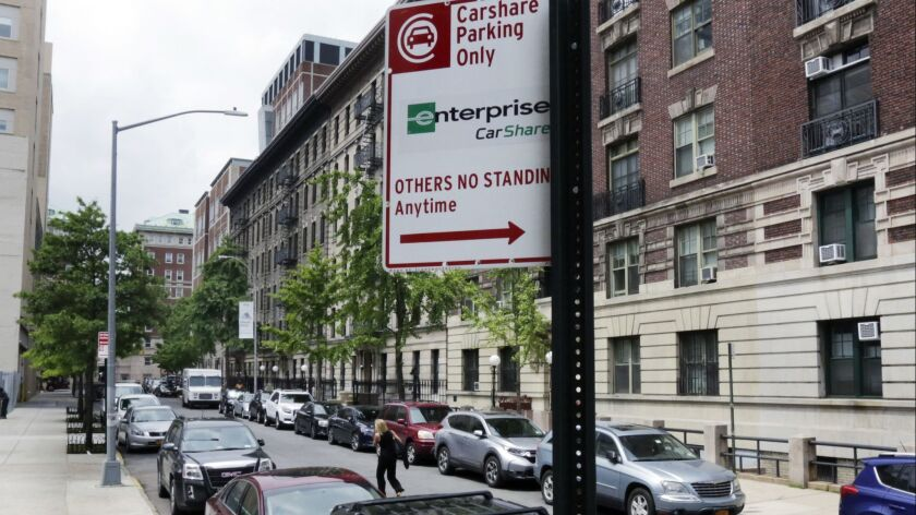 In this June 1, 2018 photo, New York City Department of Transportation sign marks an area on New Yor