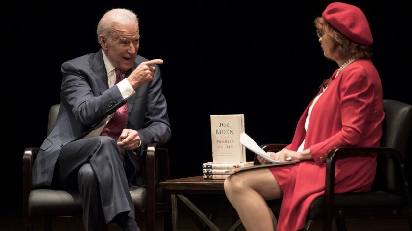 Former Vice President Joe Biden on stage with The Times' Patt Morrison at the Orpheum Theatre in Los Angeles.
