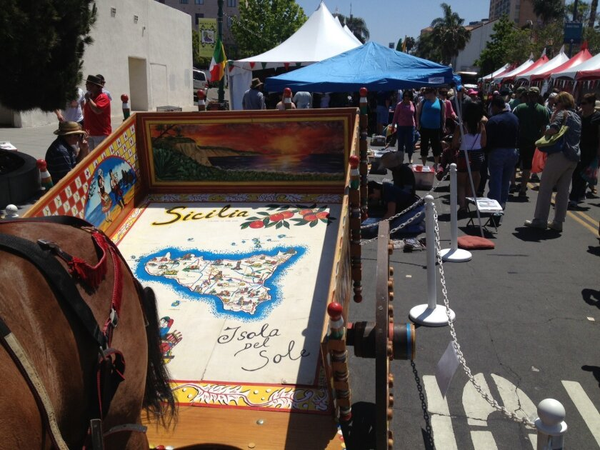 A carretto - a horse drawn carriage - was on display at the Sicilian Festival on May 19, 2013 in Little Italy.