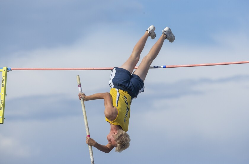 Skyler Magula, shown competing for Marina High in the pole vault on May 11, 2019, had his track and field season at Cal end early because of the coronavirus.