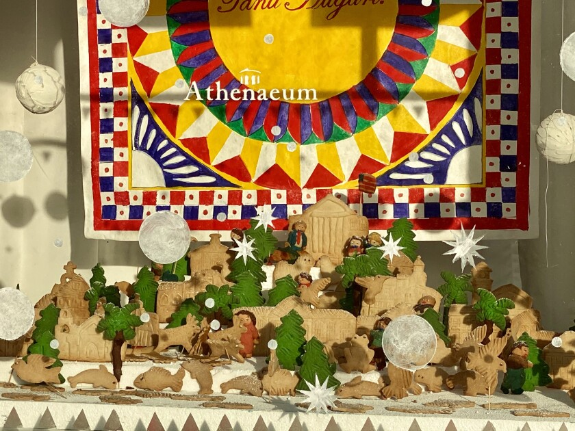 The cookie village created by Girard Gourmet is on the Girard Avenue-facing side of the Athenaeum Music & Arts Library.