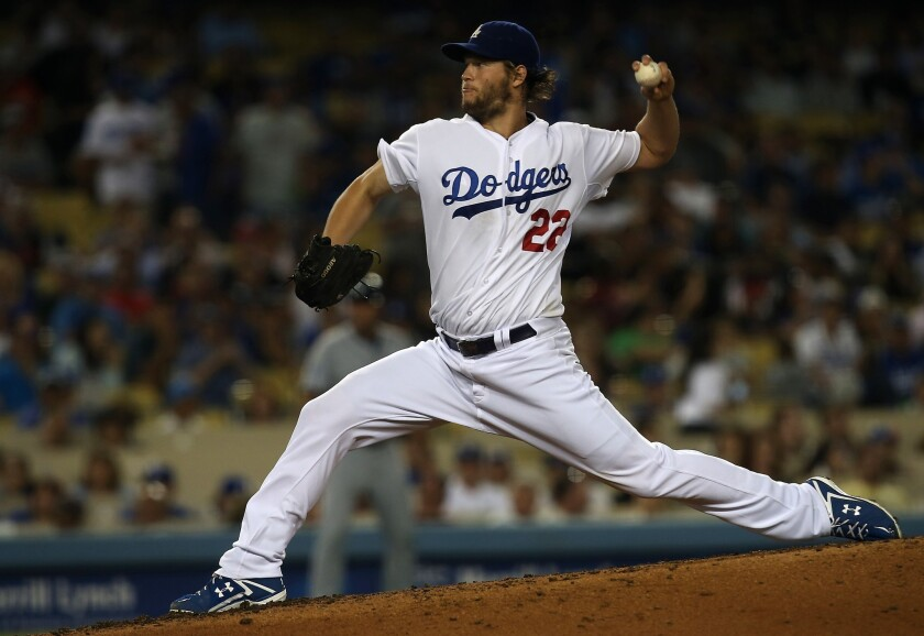 Clayton Kershaw held the Padres to one run on three hits over eight innings as the Dodgers' ace won his 15th decision of the season.