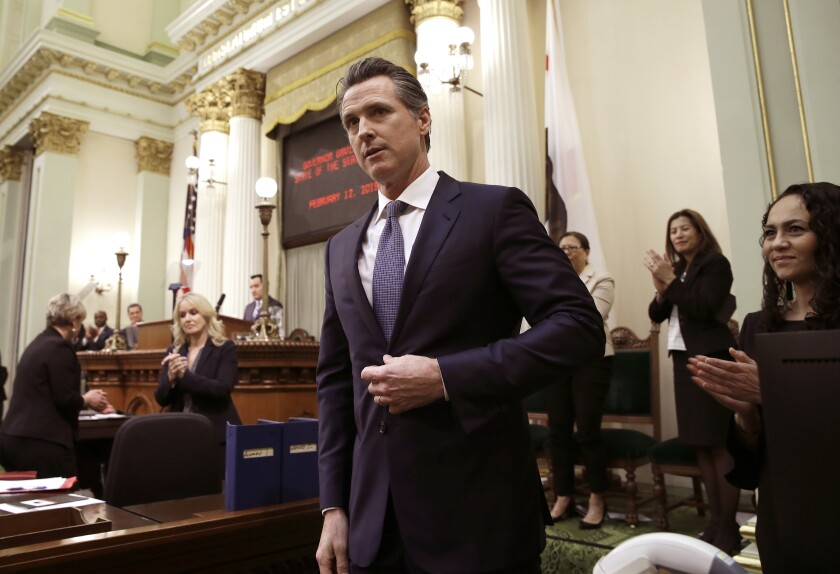 California Gov. Gavin Newsom, shown after his State of the State address in February, has irked some environmentalist allies with his veto of Senate Bill 1.