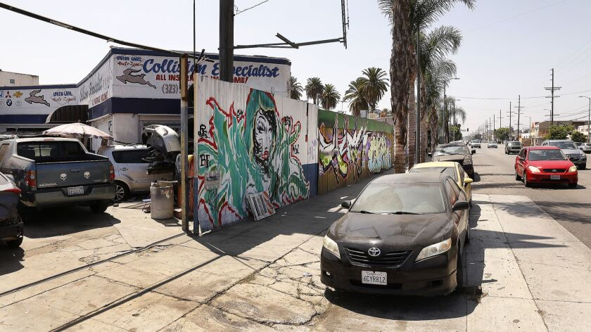 Residents have lodged complaints for years about this auto repair shop on West Adams Boulevard, seen here in August 2018.