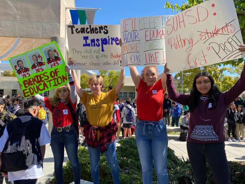 Eastlake High School students held a walkout Tuesday, March 3, to protest budget cuts made by the Sweetwater Union High School District in February.