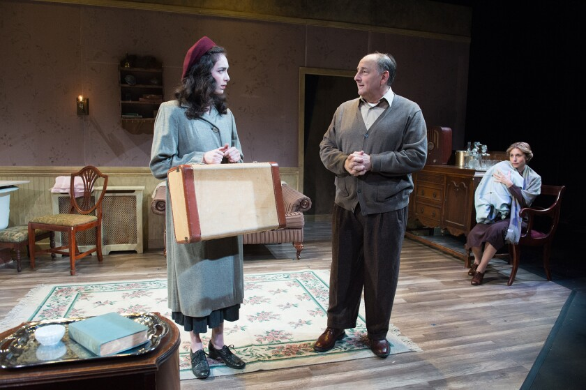 """A Holocaust survivor (Zoe Yale, left) faces an uncertain future with her father (Arye Gross) and is haunted by the ghostly memory of her mother (Tessa Auberjonois) in Antaeus' """"Eights Nights."""""""
