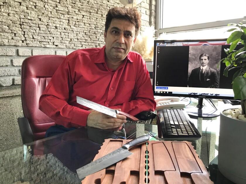 Saaya Heidari with luxury knives