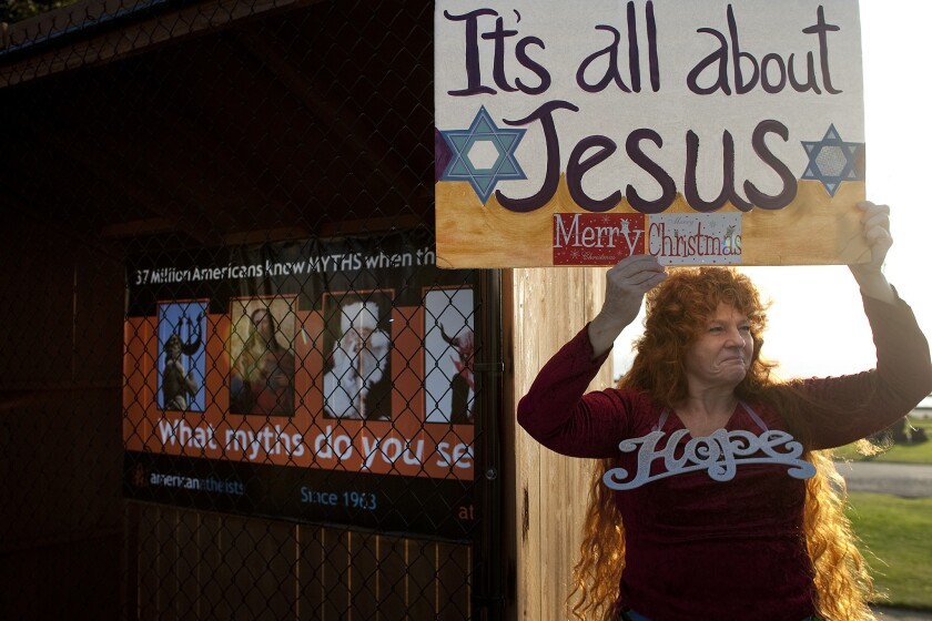"In 2011, the city of Santa Monica doled out spots at its Palisades Park holiday display to atheist groups, touching off protests from Christians about a ""war on Christmas."""