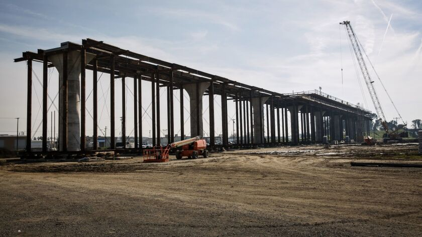 Construction on the high speed rail project in Fresno County.