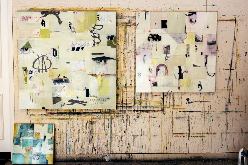 """A shot of Elyse Katz's """"Note to Self,"""" """"Peekaboo,"""" and """"Growing Pains,"""" which were created in 2020."""