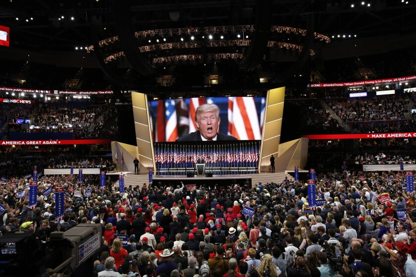 Donald Trump on the final night of the 2016 Republican National Convention in Cleveland.