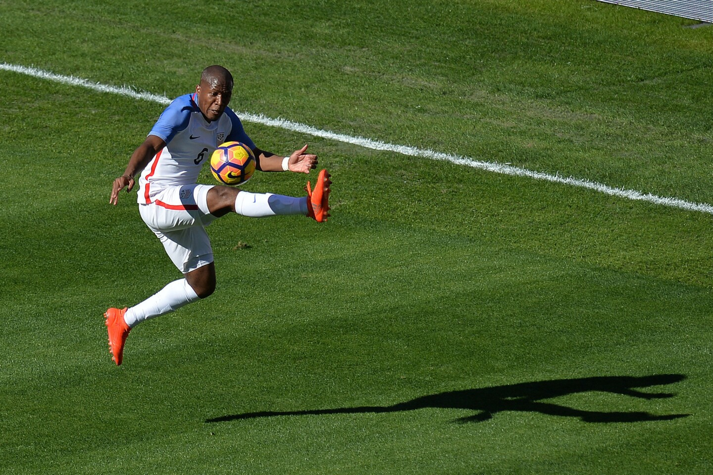 Jan 29, 2017; San Diego, CA, USA; United States midfielder Darlington Nagbe (6) settles the ball against the Serbia during the first half at Qualcomm Stadium. Mandatory Credit: Jake Roth-USA TODAY Sports ** Usable by SD ONLY **