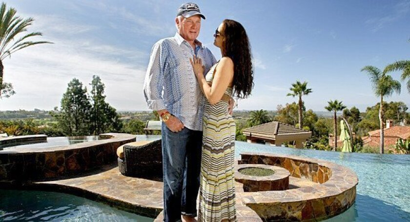Mike Love and his wife Jacquelyne at his home in Rancho Santa Fe, Calif.