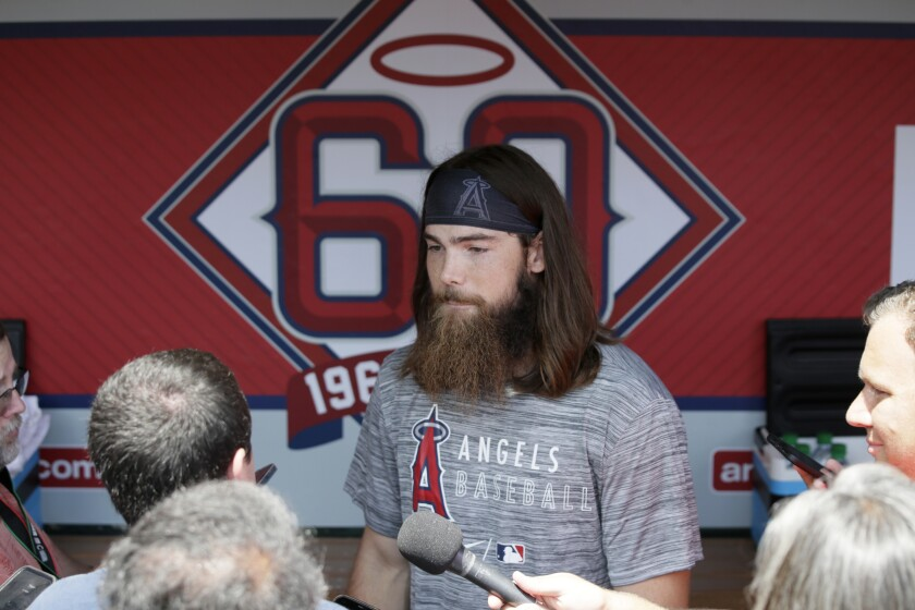 Angels outfielder Brandon Marsh speaks with the media before making his major league debut on Sunday.