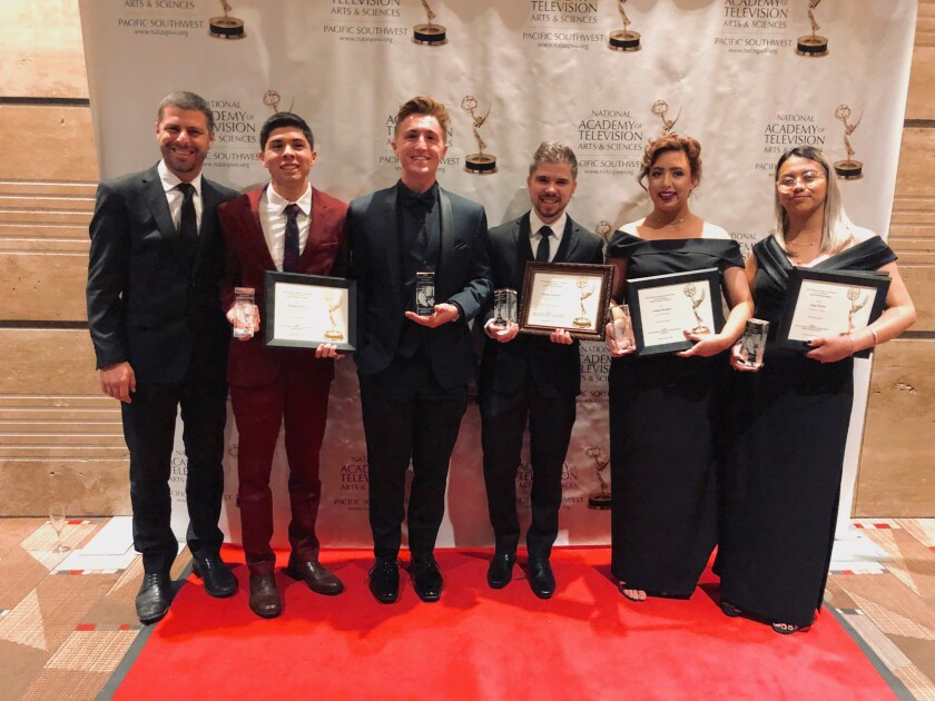 Pictured at the Emmy Awards ceremony, from left: Palomar College Dean of Arts, Media, and Business Administration Justin Smiley, Antonio Flores, Jordan Spurgeon, Joseph Jauregui, Jordan Mougier and Angy Moran.