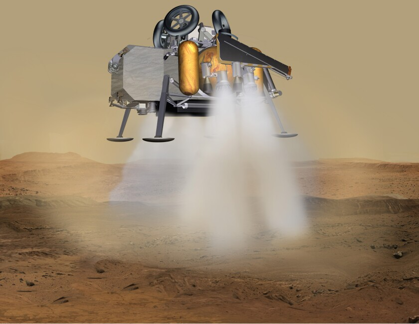 A lander touches down on Mars