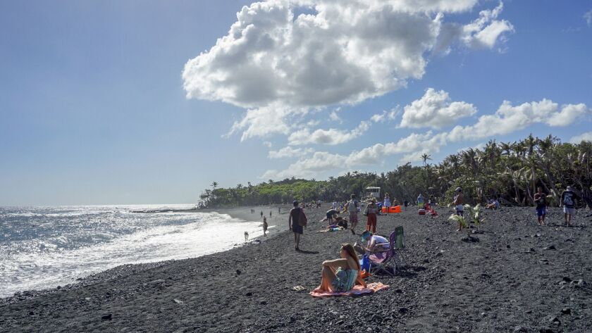 ONE TIME USE - Pohoiki's new black sand beach, in Puna, Hawaii.