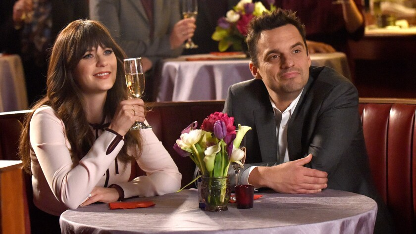 """Zooey Deschanel and Jake Johnson in the series finale of """"New Girl"""" on Fox."""