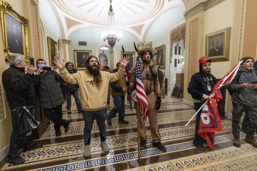 Pro-Trump rioters inside the U.S. Capitol on Wednesday.