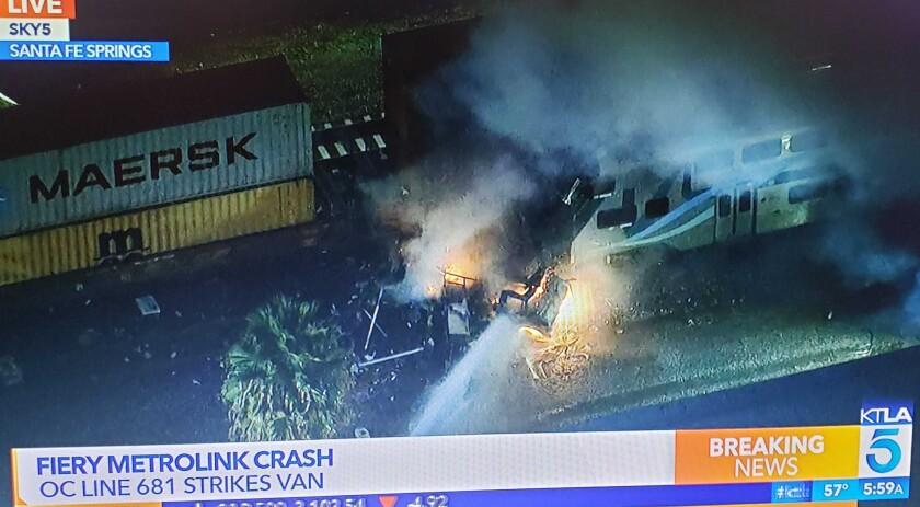 Metrolink train struck a vehicle in Santa Fe Springs