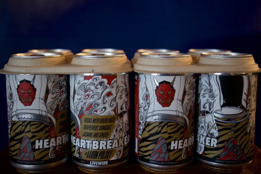 Cans of the Heartbreaker cocktail.