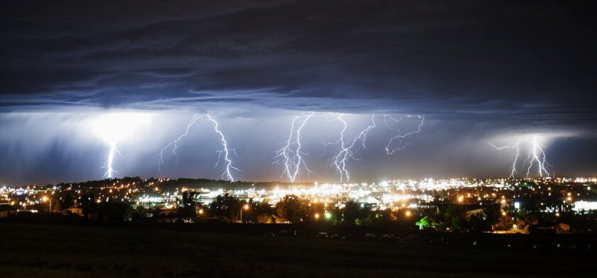 Lightning strikes north of Gillette, Wyo.